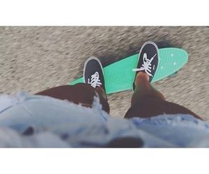 vans, shorts, and skate image