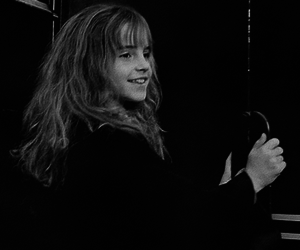 black and white, harry potter, and hermione granger image