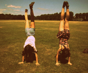 girl, friends, and handstand image