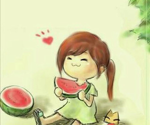 watermelon and cat image