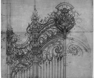 gate, drawing, and sketch image