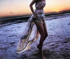 beach, dress, and sunset image