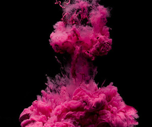 pink, smoke, and explosion image