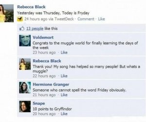 rebecca black, funny, and harry potter image
