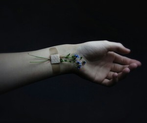 flowers, grunge, and hand image