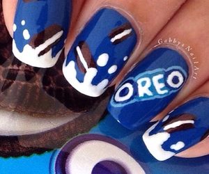 oreo, nails, and blue image