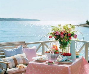 flowers, sea, and summer image