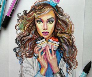 art, girl, and cupcake image