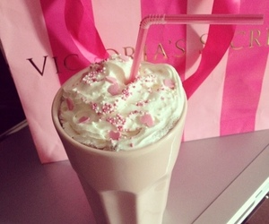 pink, Victoria's Secret, and drink image