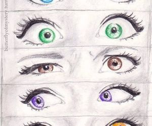 eyes, drawing, and green image