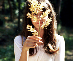 girl, nature, and leaves image