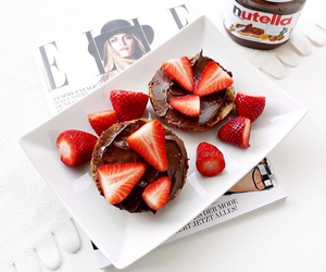 chocolate, nutella, and strawberries image