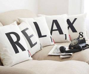 phone, pillow, and relax image
