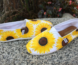 shoes, sunflower, and toms image