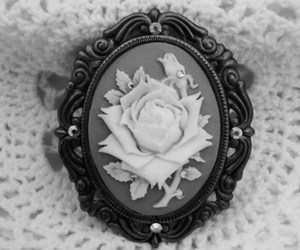 antique, black and white, and jewelry image
