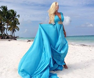 dress, blue, and beach image