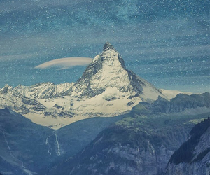 mountains, sky, and snow image