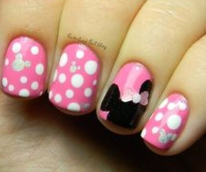 nails, pink, and minnie mouse image