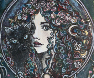 cat, moon, and wicca image