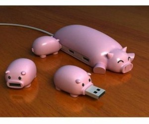 pig, usb, and pink image