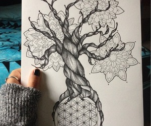 drawing, art, and tree image
