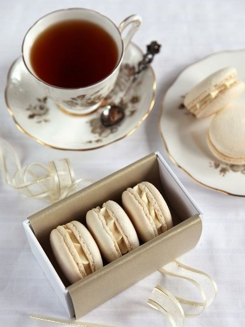 tea, food, and macaroons image