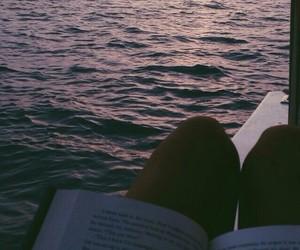 beach, book, and sky image