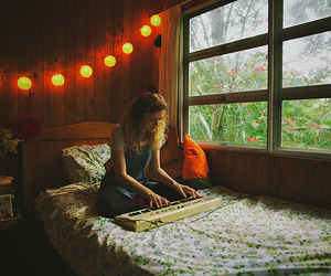 bed, girl, and window image