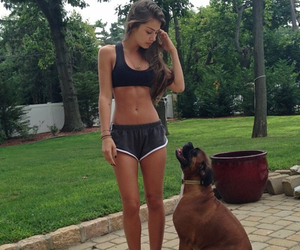 girl, dog, and fit image
