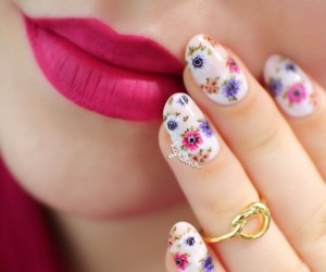 nails, lips, and flowers image