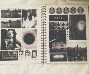 grunge, black and white, and book image