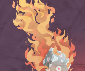 companion cube, craziness, and fire image