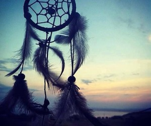 Dream, dream catcher, and sunset image