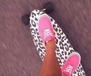 vans, pink, and skate image