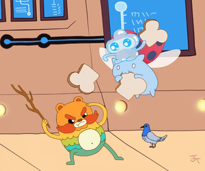 pigeon, catbug, and jelly kid image