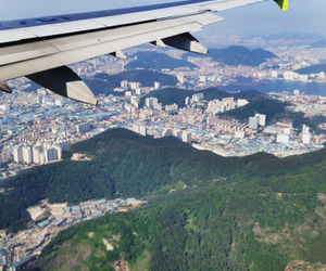 airplane, korea, and travel image