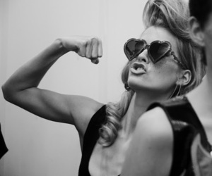 woman, black and white, and strong image