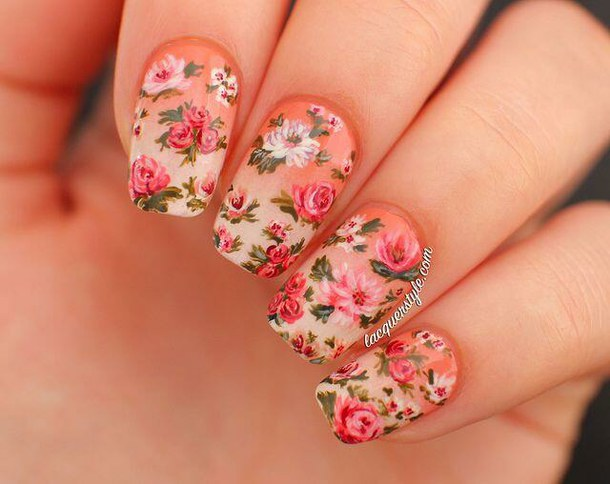 art, nails, and flower image