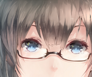 anime, blue eye, and eyeglasses image