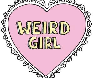 girl, weird, and heart image