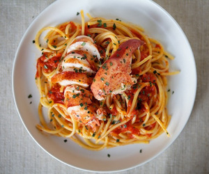 food, lobster, and spaghetti image