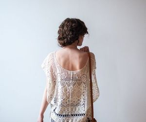beautiful photography, crochet top, and brown leather image