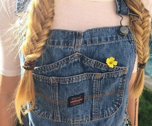 clothes, dungarees, and hair image