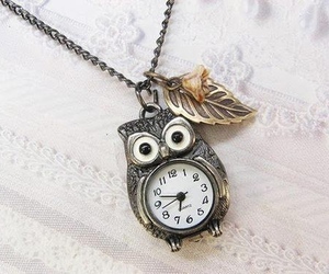 owl, necklace, and clock image