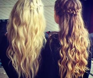 blonde, braids, and brunette image