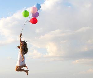 girl, balloons, and sky image