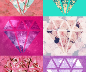 Collage, diamonds, and flowers image
