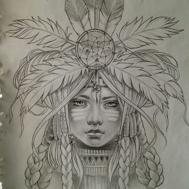 Art Girl Headdress Warrior Princess Pencil Sketch
