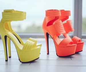 shoes, high heels, and yellow image
