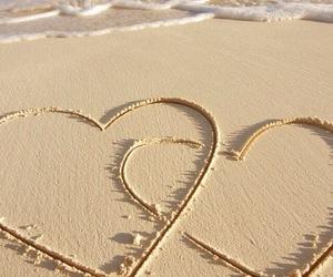 beach, hearts, and sun image